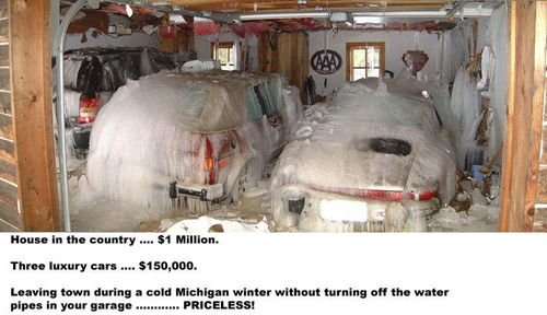 Funny-Mastercard-priceless-frozen-water-pipes-freeze-car-in-garage